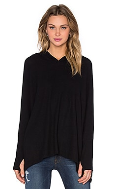 Michael Lauren Quest Oversized Stripe Back Hoodie in Jet Black & Geo