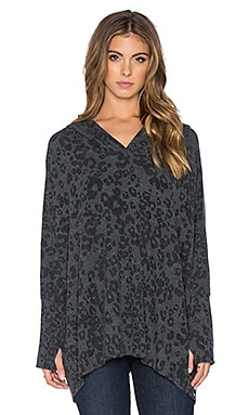 Michael Lauren Dash Pullover Hoodie in Black Leopard