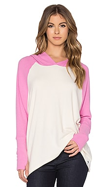 Ivo Oversized Raglan Hooded Pullover in Silk & Pink Shortcake