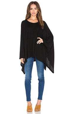 Michael Lauren Orrick Oversized Draped Cape in Black Waffle