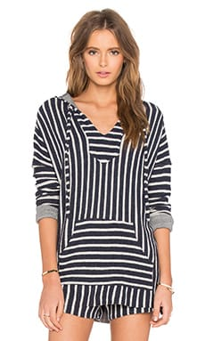 Michael Lauren Tuf Beach Hooded Pullover in Navy Stripe