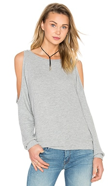 Michael Lauren Skip Open Shoulder Pullover in Heather Grey