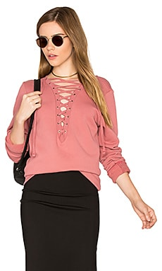 Dominic Lace Up Pullover in Rose Garden