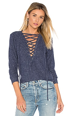 Dominic Lace Up Pullover in Navy