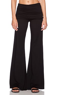 Michael Lauren Costa Fold Over Bell Pant in Black