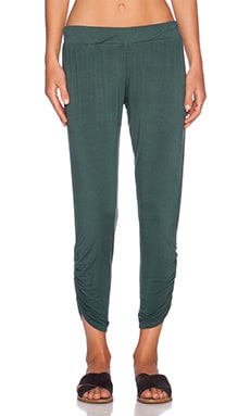 Michael Lauren Pablo Shirring Pant in Dark Green