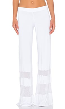 Michael Lauren Jazz Wide Leg Mesh Pant in White