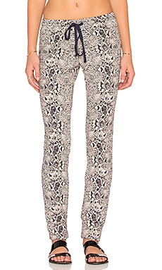 Michael Lauren Chet Track Pant in Navy & Tan Snake