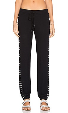 Michael Lauren Driver Sweatpant in Jet Black & Black Stripe
