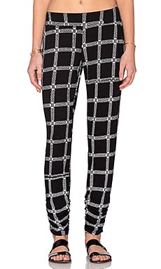 Michael Lauren Hardy Double Shirring Pant in Black Loom