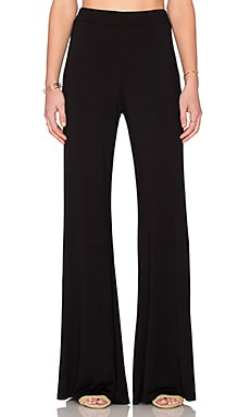 Michael Lauren Eco High Waisted Wide Leg Pant in Black