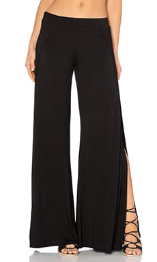 Troy Wide Leg Pant with Slit in Black