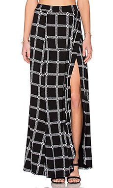 Michael Lauren Indy Wrap Maxi Skirt in Black Loom