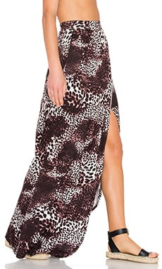 Michael Lauren Indy Wrap Maxi Skirt in Dark Leopard