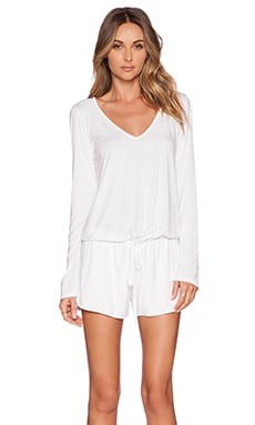 Michael Lauren Nelson Long Sleeve Romper in White