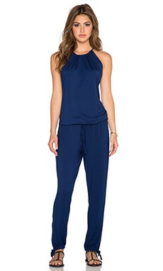 Michael Lauren Finley Drawstring Jumpsuit in Blue Magic