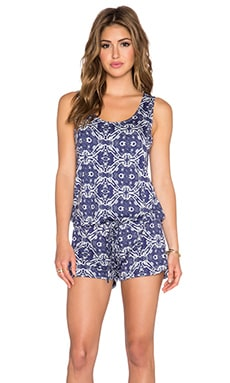 Michael Lauren Bello Tank Romper in Royal Paisley