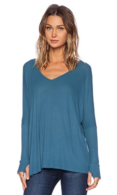 Michael Lauren Hyde Draped V Neck Tee in Blue Moon