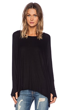 Michael Lauren Branson Draped Tee in Black