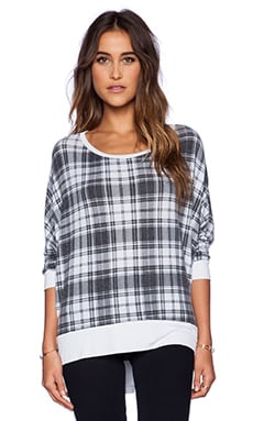 Michael Lauren Fred Long Sleeve Tee in White Plaid & White