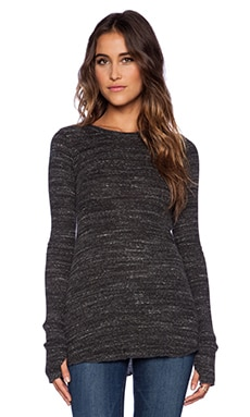 Michael Lauren Alick Fitted Long Sleeve Tee in Heather Charcoal
