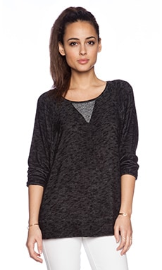 Michael Lauren Xaviar Long Sleeve Dolman in Black & Grey