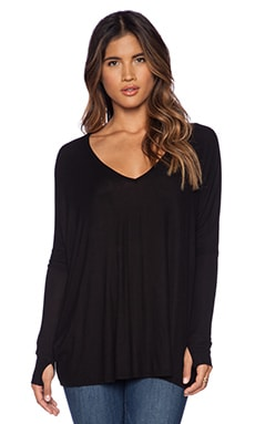 Hyde Long Sleeve Draped Tee in Black