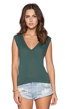 Michael Lauren Jerry V Neck Tank in Dark Green