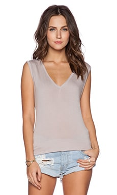 Michael Lauren Jerry V Neck Tank in Taupe Grey