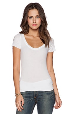 Michael Lauren Micah Scoop Neck Tee in White