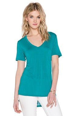 Michael Lauren Tennessee V Neck Slit Tee in Lagoon