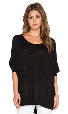 Michael Lauren Fred Long Sleeve Top in Black Speckle