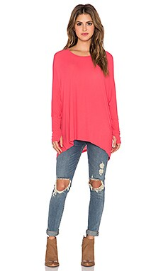 Michael Lauren Branson Long Sleeve Draped Thumbhole Tee in Pinktastic