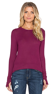 Michael Lauren Alick Long Sleeve Thumbhole Tee in Mystic Plum