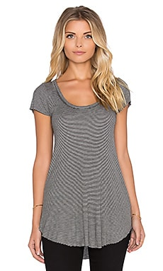 Michael Lauren Micah Scoop Neck Tee in Grey & Black
