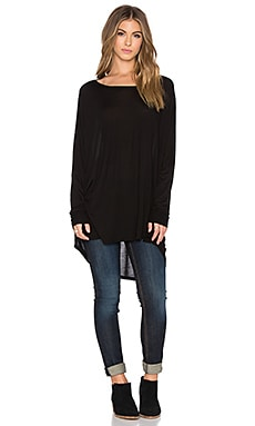 Michael Lauren Elwood Long Sleeve Oversized Cape Top in Black