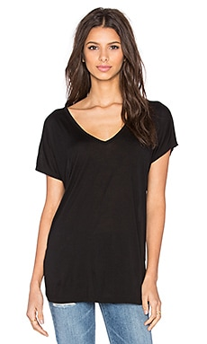 Michael Lauren Dov Oversized Double V Neck Tee in Black