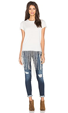 Scout Fringe Tee in Faded White