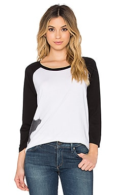 Michael Lauren Harvey Boyfriend Raglan in Bleach Black & Black