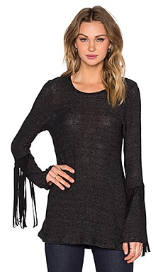 Neka Long Sleeve Fringe Tee in Black