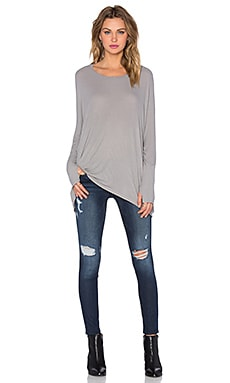 Michael Lauren Branson Long Sleeve Draped Thumbhole Tee in Willow Grey