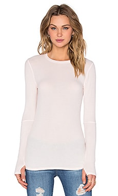 Michael Lauren Everett Long Sleeve Thumbhole Tee in Blush Almond
