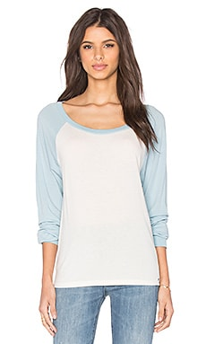 Michael Lauren Elroy Long Sleeve Contrast Crop Tee in Faded White & Pearl Blue