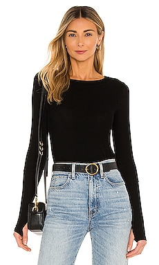Michael Lauren Everett Long Sleeve Thumbhole Tee in Black