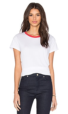 Michael Lauren Toby Short Sleeve Contrast Neck Tee in White & Rose