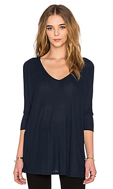 Michael Lauren Dylan 3/4 V Neck Draped Tee in Navy Storm