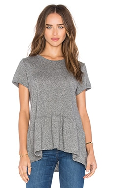 Michael Lauren Hart Short Sleeve Ruffle Tee in Heather Great