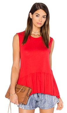 Swain Ruffle Hem Tank in Gypsy Red