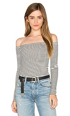Santorini Off Shoulder Tee in Cream Stripe
