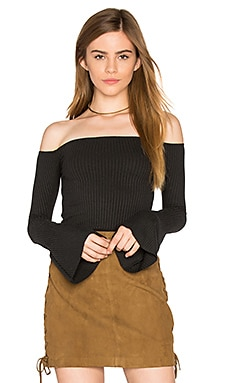 Hyatt Off Shoulder Bell Sleeve Top in Caviar